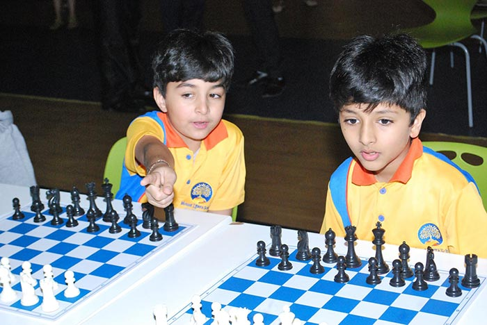 Students of Mount Litera School International participated in a chess interaction with FIDE Master Balaji Guttula