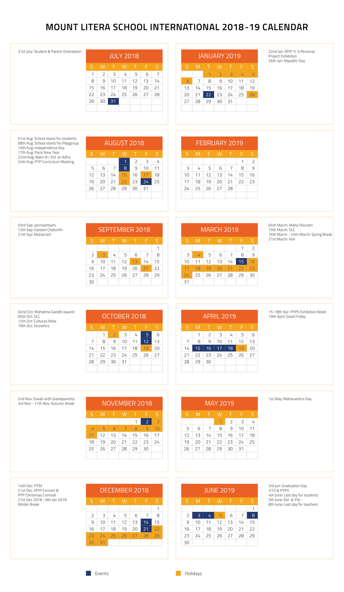 School Calendar Mount Litera School International